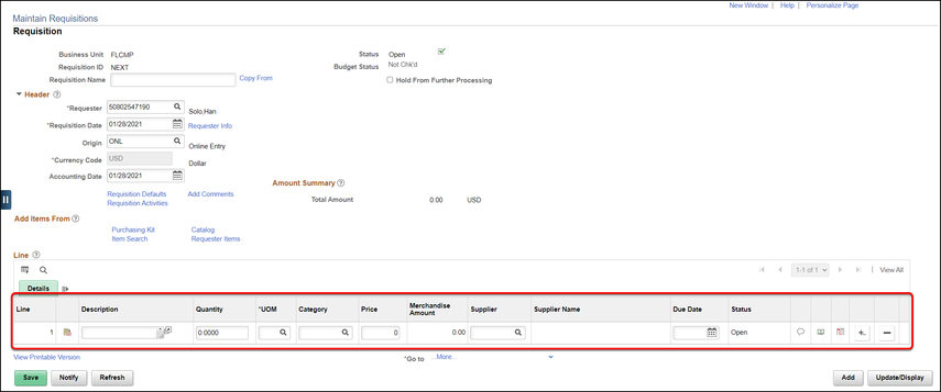 Maintain requisitions screen