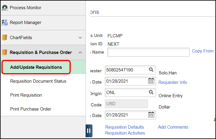 maintain requisitions page with left menu open