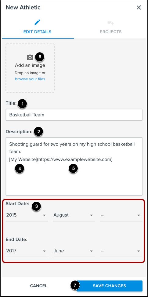 Add Athletic Details