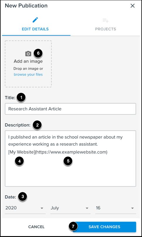 Add Publication Details