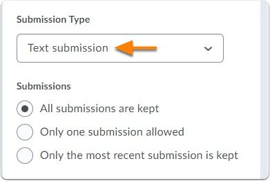 Assignment type - Text submissions