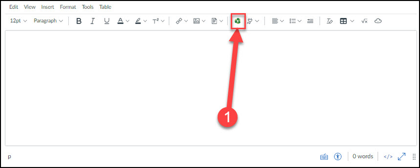 The Media Library button is located on the rich content editor toolbar