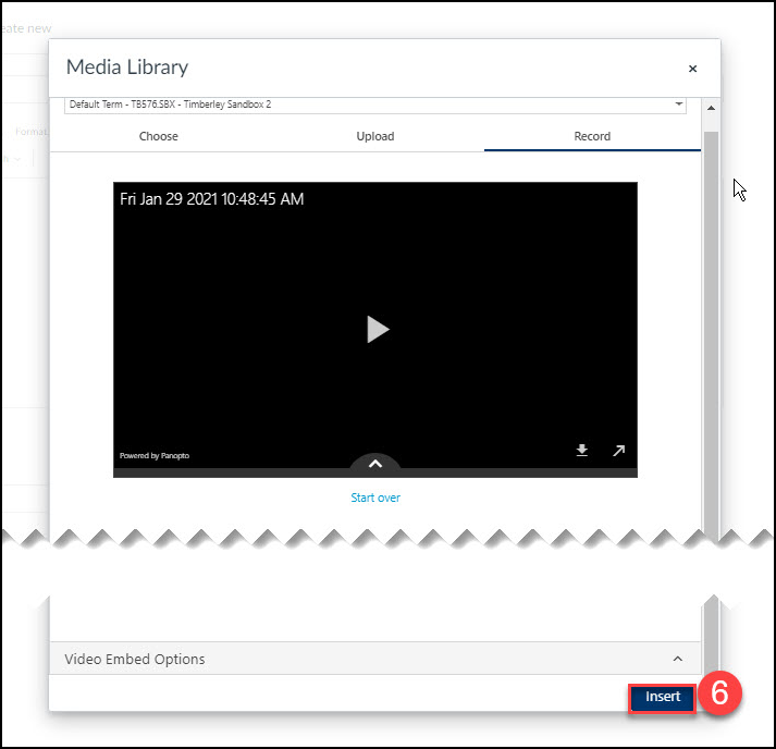 Click the nsert button to embed the video into the editor
