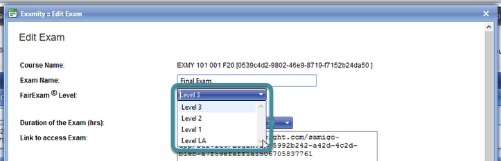 Select your FairExam Level from the drop down menu.