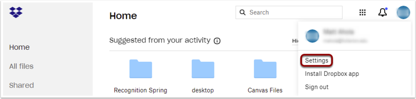 Settings is highlighted.