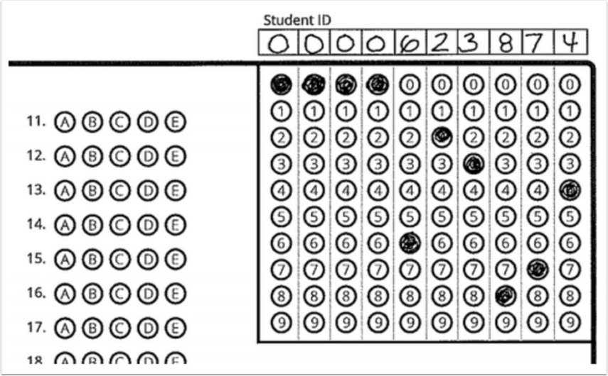 Bubble Sheet with Student ID