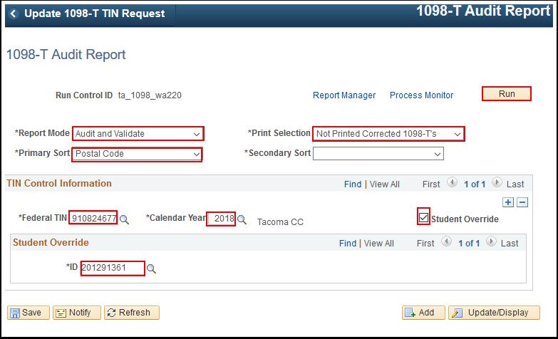 1098 T Audit Report page