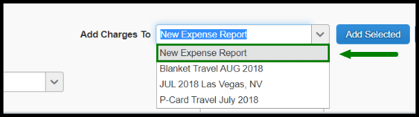 The Add Charges To drop-down menu is selected. There is a green highlighted box around the option New Expense Report.