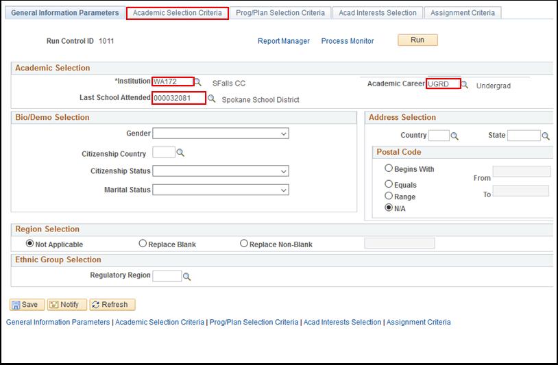 General Information Parameters tab