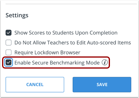 Select Benchmarking Setting