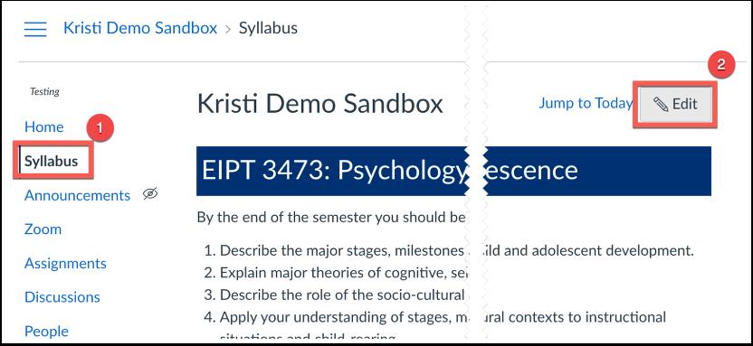 Image of syllabus page