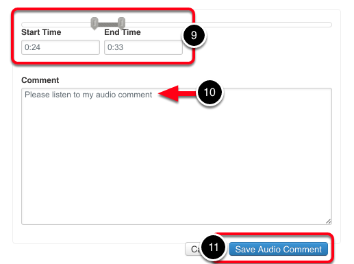 Select Video Section, and Save Comment