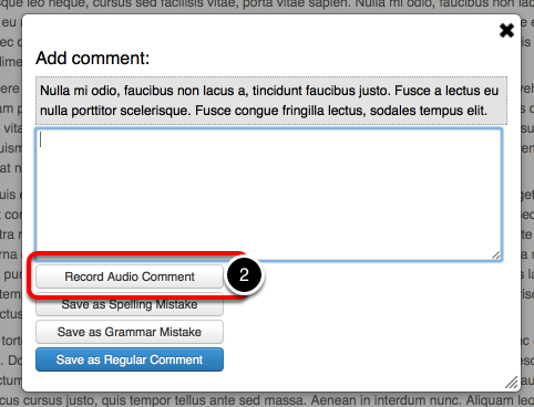 Step 2: Select Type of Comment