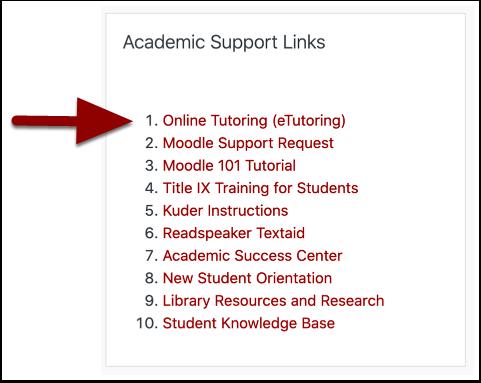 Academic Support Links block
