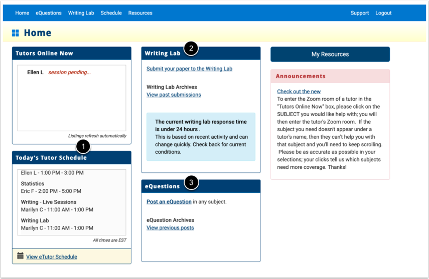 eTutoring home page
