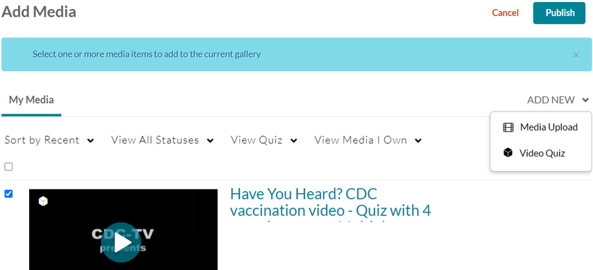 Screenshot shows Add Media page with options to publish or add a new video quiz. Graphic link opens modal with larger image. Press Escape to exit modal.