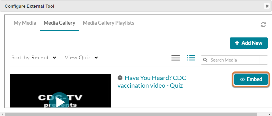 Screenshot shows Embed button for an example video. Graphic link opens modal with larger image. Press Escape to exit modal.