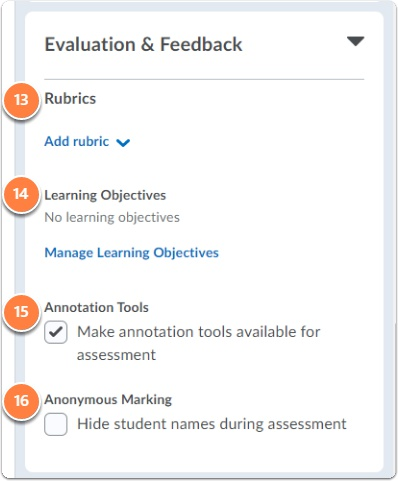 Assignment settings - Evaluation and Feedback section