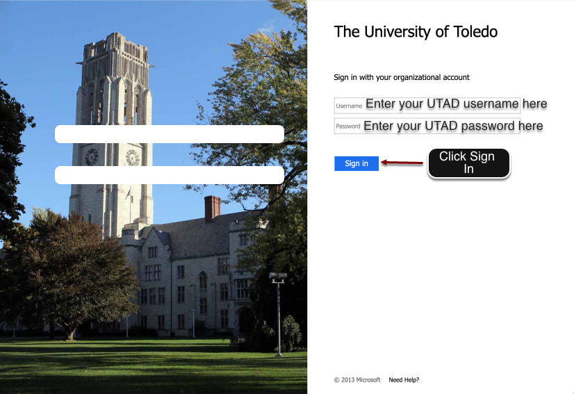 UT Single Sign on pageis displayed. Enter UTAD credentials.