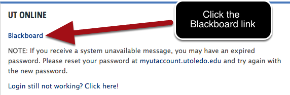 Selecting Blackboard from the dropdown menu in the Student tab of the MyUT login page and click Go.