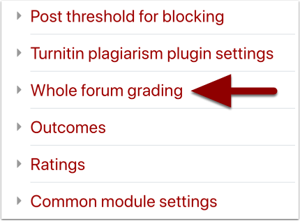Forum settings page detail