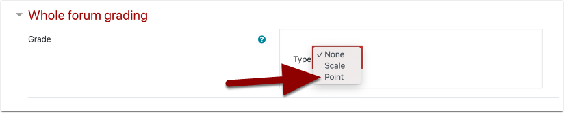 Whole forum grading setting with Point selected