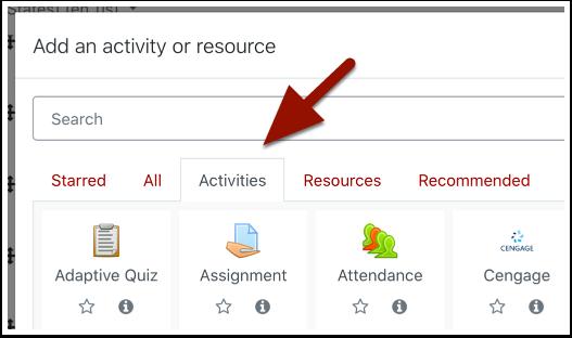 Activity and resource menu detail