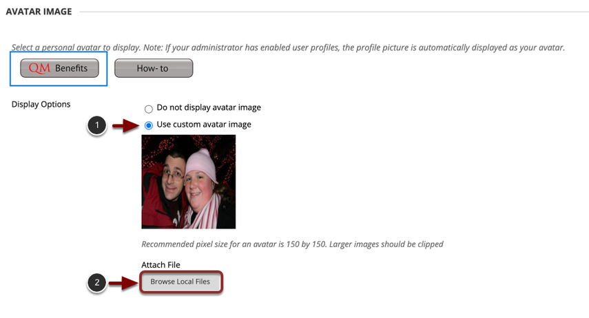 """This image has the following steps annotated: 1.Display Options: Under Display Options, choose the option labeled """"Use Custom Avatar Image""""2.Attach File: Click Browse My Computer to upload an image and select a file from your computer.3.When finished, click Submit at the bottom of the screen."""