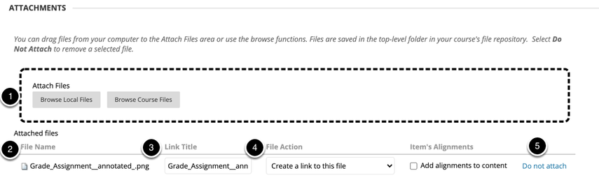 Image of the file attachment section with the following items: 1.Attach Files: Click Browse My Computer to upload a file from your computer or click Browse Content Collection to upload a file that has already been added to the course. Once the file has been successfully attached, the file name will be listed below.2.File Name: The file name will appear here3.Link Title: the name of the file link can be changed here. This does not change the actual name of the file4.File Action: If you are attaching a media file, this option will allow you to choose how to display the file.5.Do Not Attach: To remove an unwanted file, click on Do Not Attach to remove the file.