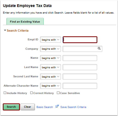 Update Employee Tax Data search page