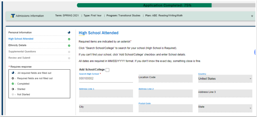 High School Information page