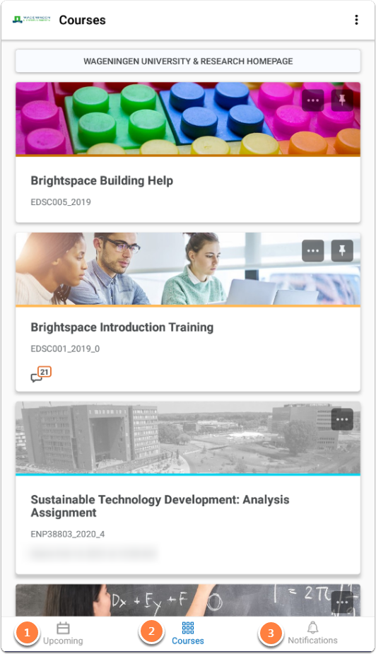 Courses homepage