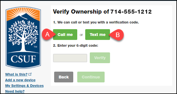 verify ownership screen