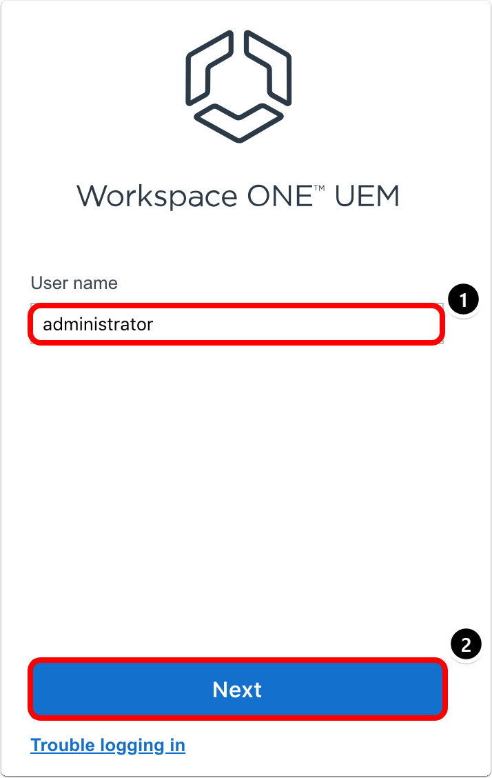 Workspace ONE UEM login screen for Android enterprise enrollment
