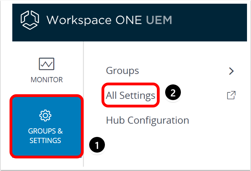 Navigate to Workspace ONE UEM admin console settings to manage android enterprise devices