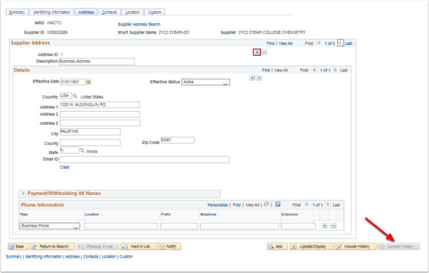 Supplier Information page - Address tab