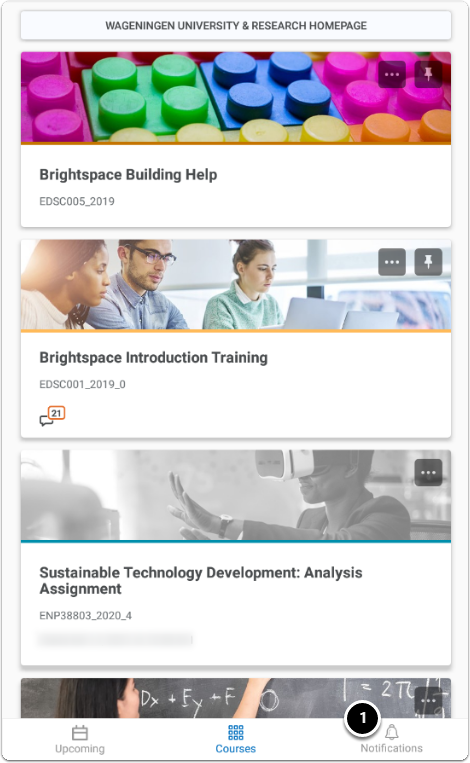 Courses homepage - Click on Upcoming