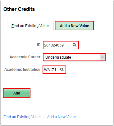 Other Credits Add a New Value tab