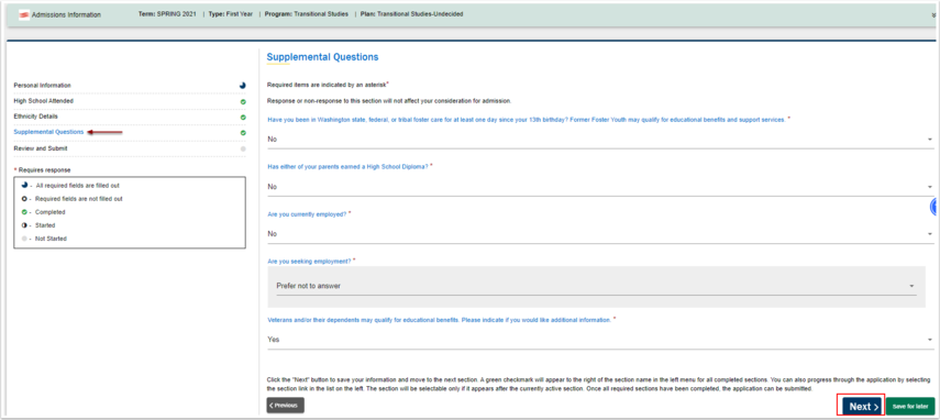 Required items for Supplemental Questions are not required
