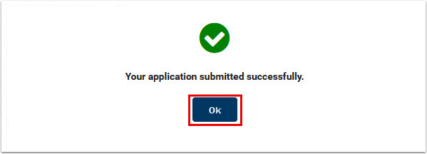 Your application submitted successfully window displays-press OK
