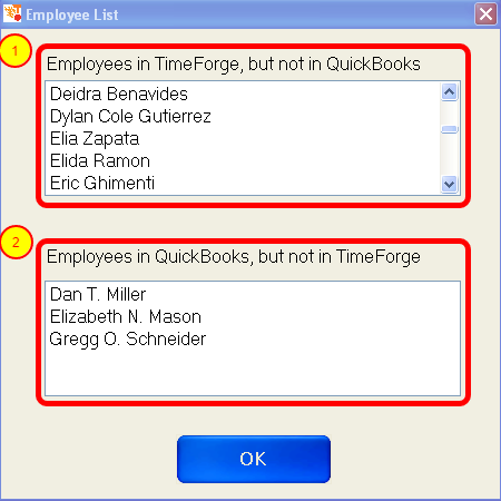 Compare the TimeForge and QuickBooks Employee Lists