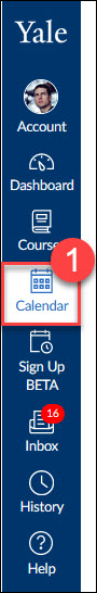 The Calendar tool is access through the left-side global navigation menu.