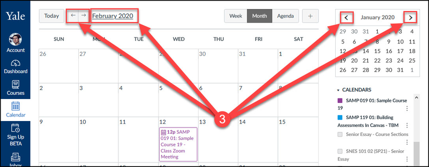 Use the month/day navigation buttons to find the date of the event you need to edit.