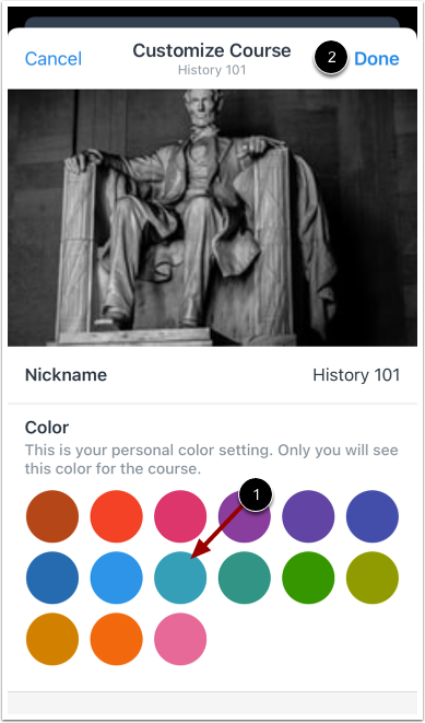 Choose Course Color