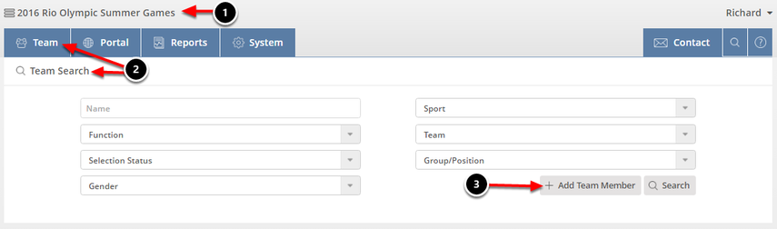 Search Existing Team Members in Games