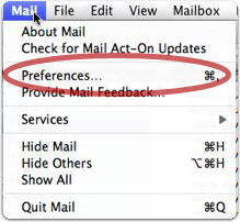 Choose Preferences from the Apple Mail menu