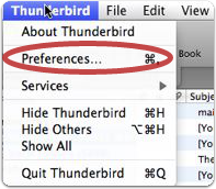 Choose the Preferences option from the Thunderbird Menu