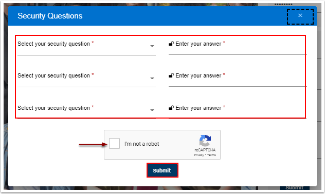 Select your security questions and Answer