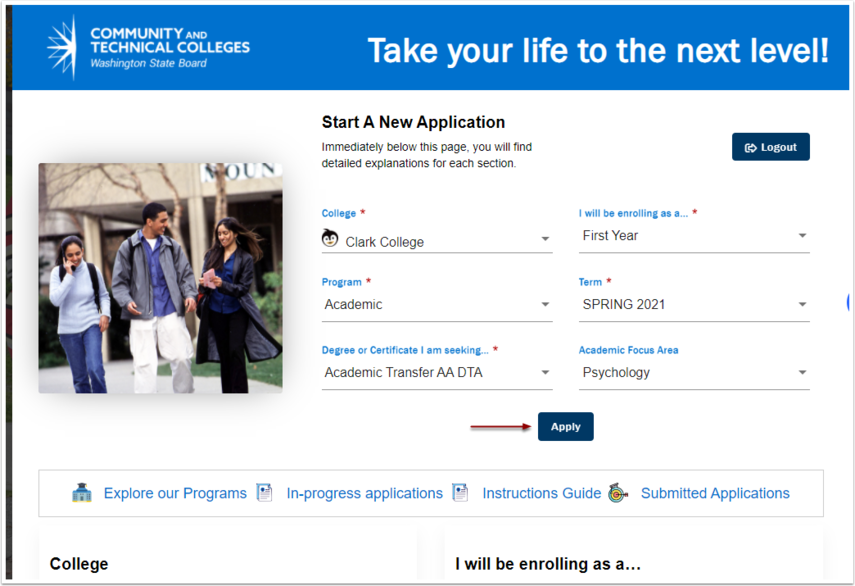 Select Your College and Program information