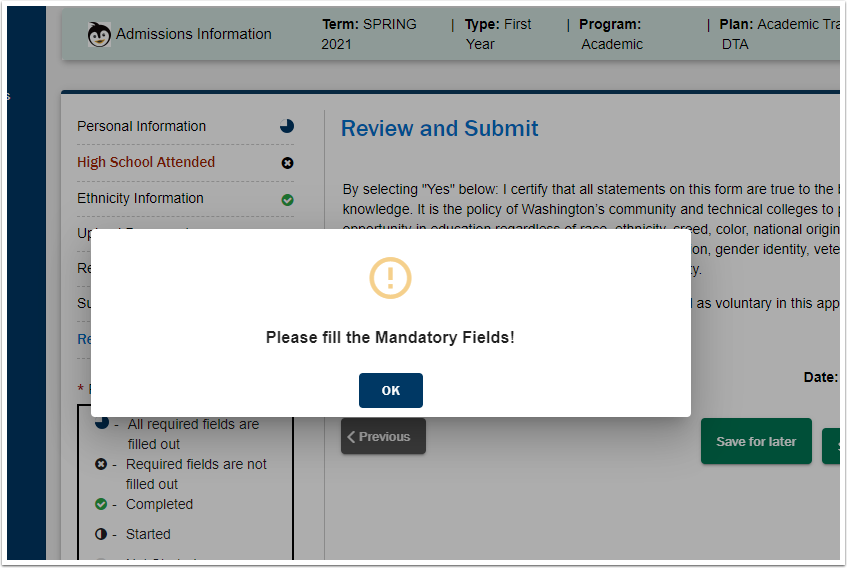 When an error occurs, please fill out the Mandatory Fields